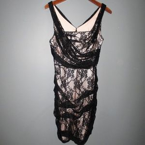 NWT Express Black Lace Overlay Nude Lining Dress